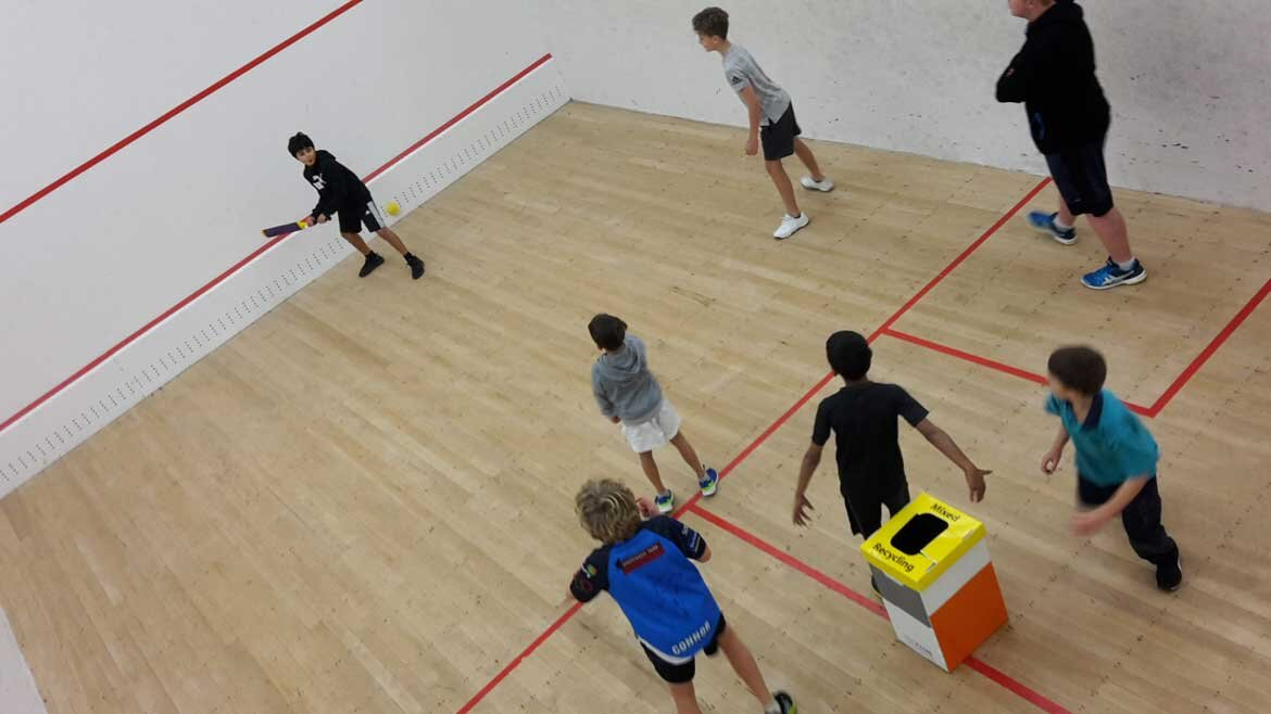 Juniors Take A Break From Squash Coaching And Have A Game Of Squicket